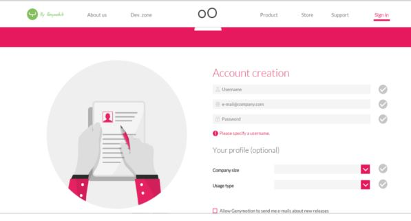 genymotion account creation