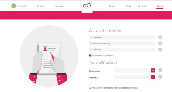genymotion account creation